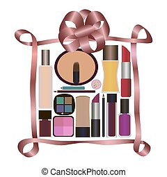 Gift with Perfumery and Cosmetics isolated