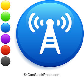 radio tower icon on round internet button original vector...