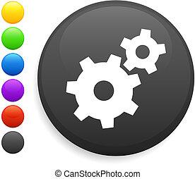 machine part icon on round internet button original vector...