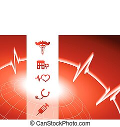 Medical Symbol Icons on red wire globe background