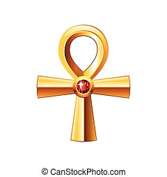Egyptian cross ankh isolated on white vector - Egyptian...