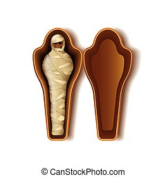 Mummy in sarcophagus isolated on white vector - Mummy in...