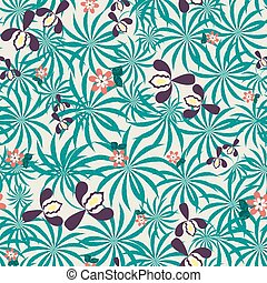 Seamless exotic floral pattern