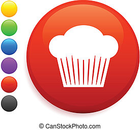 muffin icon on round internet button original vector...