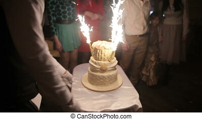 Wedding cake with burning fireworks, Full HD