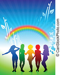 Sexy young women dancing on rainbow nature background -...