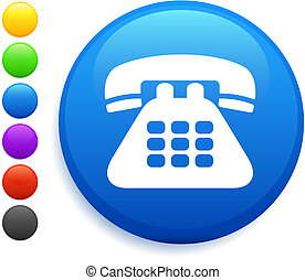 telephone icon on round internet button original vector...