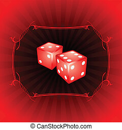 Pair of dice on decorative background