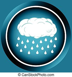 Icon cloud with the heavy rain - Icon the button of blue...