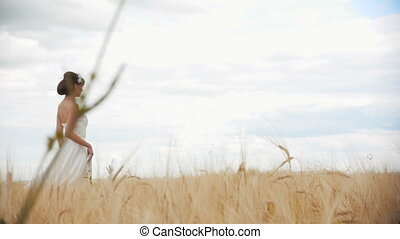 Bride Running Through The Rye Field, HD