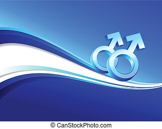 gay gender symbols on abstract blue background