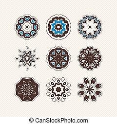Set of ornate vector mandala symbols. Gothic lace tattoo....