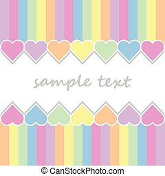 baby postcard background with two lines of hearts and...