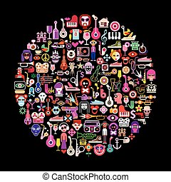 Vector art collage on black - Round shape art collage of...