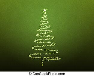 Natale, albero, fatto, stelle, verde, fondo