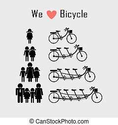 family icon with bicycle concept , clean energy concept