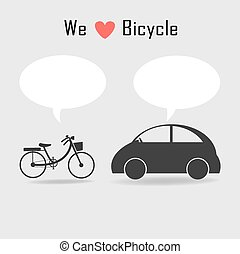 bicycle and car icons with grey background ,vector...