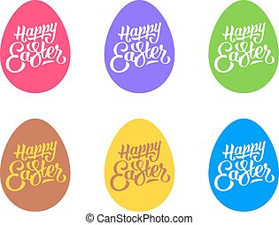 Set of flat easter eggs isolated on white