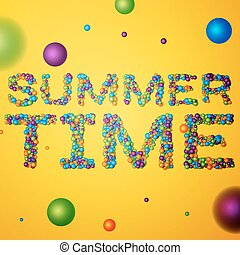 Summer Time words consisting of colored 3d particles Vector...