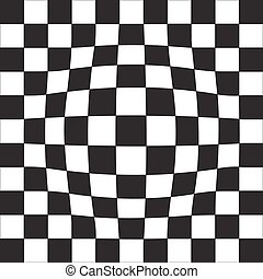 Volume geometric illusion. Chessboard, black and white cells.