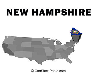 New Hampshire - Outline map of the United States with the...