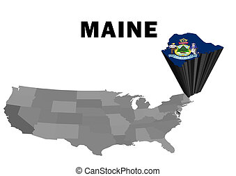 Maine - Outline map of the United States with the state of...