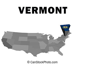 Vermont - Outline map of the United States with the state of...