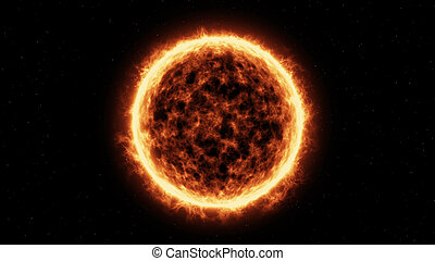Sun Surface And Solar Flares - 3D render of Sun Surface And...