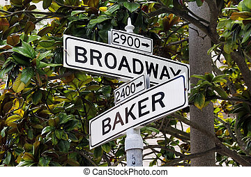 roadsign - Roadsign Broadway Street and Baker Street in San...