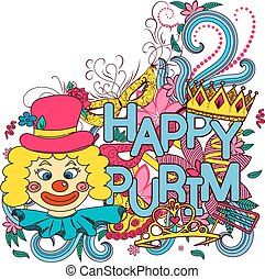 Purim hand drown background - Hand drawn background for...