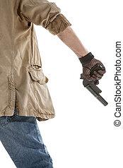 Man in black glove with a gun