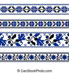 Set of Ethnic ornament pattern with cross stitch flower....
