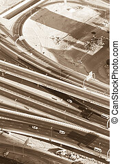 Top view of highway interchange in Dubai, UAE Sepia toned