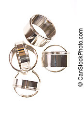 steel chromium-plated rings with thread on a white...