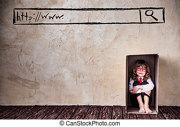 Think outside the box business concept - Portrait of child...