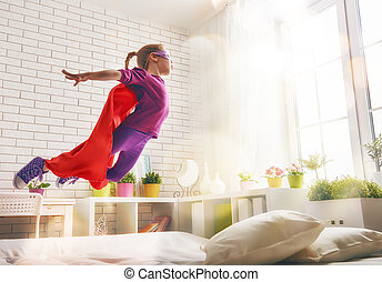 girl in Superhero's costume - Child girl in Superhero's...