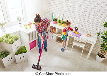 family cleans the room - Happy family cleans the room....