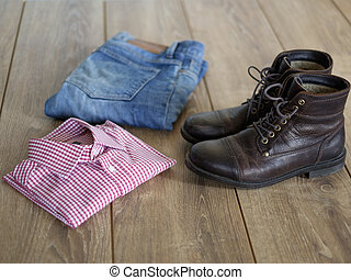 Casual clothing outfit - view of parquet with casual...