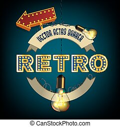 Rertro Banner image - Retro illustration with lightbulbs,...