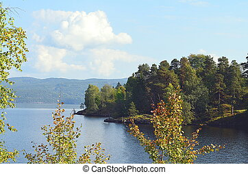 Autumnal scenery landscape at a lake in norway - Autumnal...
