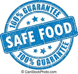 Safe food guarantee stamp isolated on white background