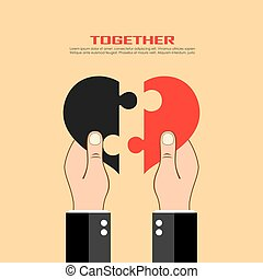 Hands holding puzzle heart, vector poster