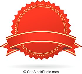 Red blank award icon isolated on white background