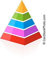 5 part layered pyramid - 5 parts layered pyramid isolated on...