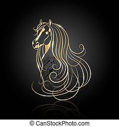 Gold abstract horse
