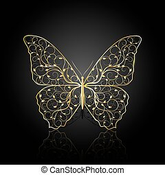 Gold butterfly with floral pattern.
