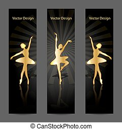 A set of vector banners with gold ballerinas