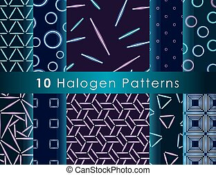 Halogen seamless pattern - Set of seamless patterns with...