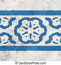 oriental tiles blue white seamless