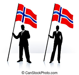 Business silhouettes with waving flag of Norway
